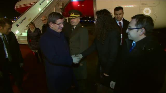 prime minister of turkey, ahmet davutoglu arrives at helsinki-vantaa airport in helsinki, finland on april 06, 2016 for his official visit. - トルコ首相点の映像素材/bロール