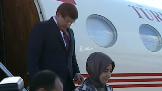 prime minister of turkey ahmet davutoglu arrives at the antalya international airport for the g20 turkey leaders summit on november 15 2015 in... - g20 leaders' summit stock videos & royalty-free footage