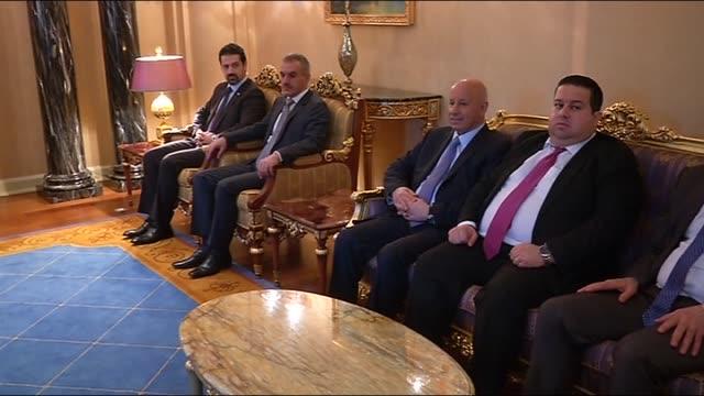 prime minister of turkey ahmet davutoglu meets with krg prime minister nechervan barzani and kurdish regional government president in arbiliraq on 21... - iraqi prime minister stock videos & royalty-free footage