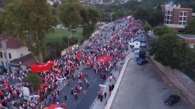 Prime Minister of Turkey Binali Yildirim marches with hundreds of thousands of citizens to attend July 15 Democracy and National Unity Day's events...