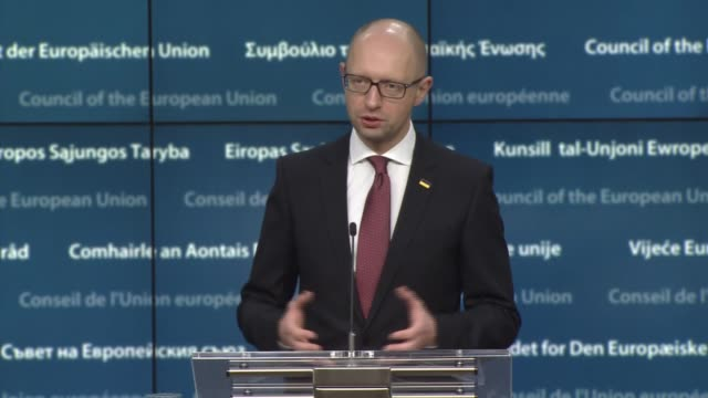 Prime Minister of Ukraine Arseniy Yatsenyuk informs the media during a press conference after EUUkraine Association Council meeting in Brussels...