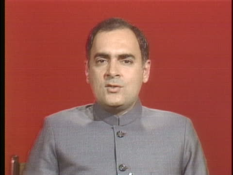 prime minister rajiv gandhi speaks about peace rajiv says: you can not find peace by building weapons by building on voilence. if you want peace you... - (war or terrorism or election or government or illness or news event or speech or politics or politician or conflict or military or extreme weather or business or economy) and not usa stock videos & royalty-free footage