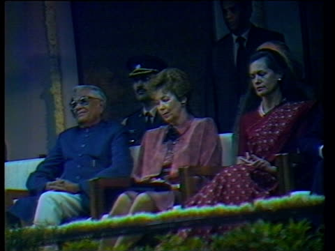 Prime Minister Ranjiv Gandhi and other dignitaries listen to President Mickhail Gorbachev giving speech Delhi Nov 1988