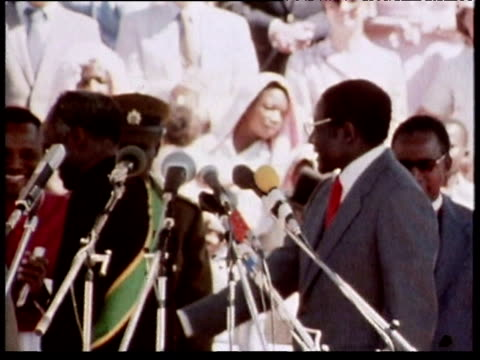 Prime Minister Robert Mugabe on platform 1980s