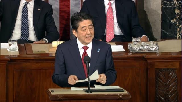 vídeos de stock e filmes b-roll de prime minister shinzo abe of japan says america influenced his nation to 'wake up' - persuasão