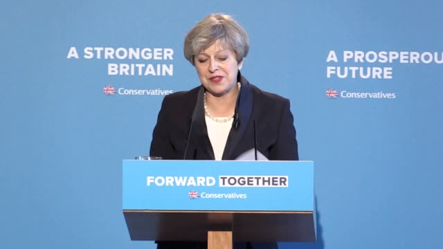 prime minister theresa launches her party's manifesto in halifax, west yorkshire. she has ditched david cameron's pledges not to raise income tax or... - west yorkshire stock videos & royalty-free footage