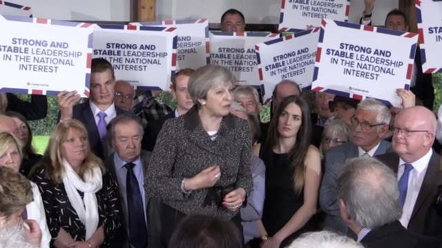 prime minister theresa may addresses conservative supporters at brackla community centre in bridgend, south wales. - south wales stock videos & royalty-free footage