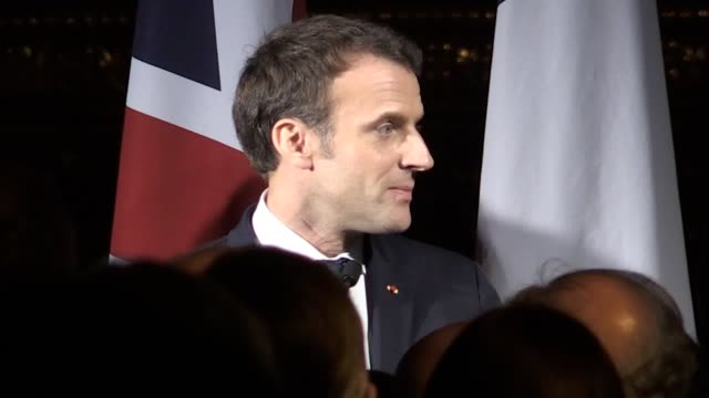 prime minister theresa may and french president emmanuel macron talk about shared history during an event at the v&a museum in west london. at the... - president of france stock videos & royalty-free footage