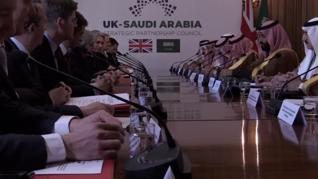prime minister theresa may and mohammad bin salman the crown prince of saudi arabia host a meeting in downing street it is the first day of his... - theresa may stock videos & royalty-free footage