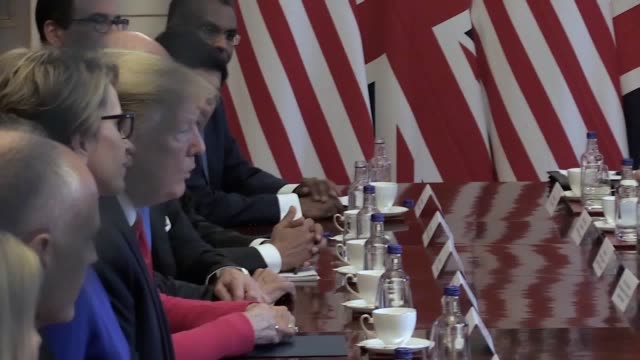 prime minister theresa may and us president donald trump speak at a business breakfast meeting at st james's palace, london, on the second day of his... - breakfast stock videos & royalty-free footage
