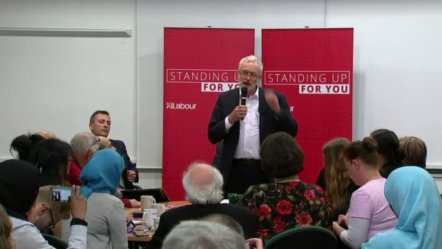prime minister theresa may calls general election: labour reaction; england: west midlands: birmingham: ext jeremy corbyn mp arriving to cheers on... - gloria de piero stock videos & royalty-free footage