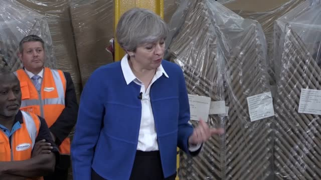 prime minister theresa may campaigns in stoke-on-trent ahead of next month's general election. speaking to workers at a screwfix base in the city,... - prime minister stock videos & royalty-free footage