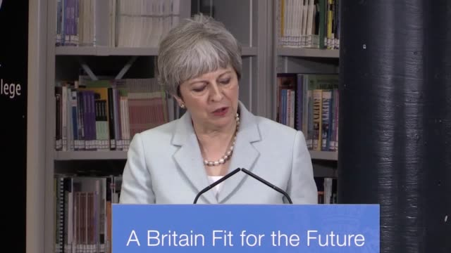 Prime Minister Theresa May gives a speech at Derby College announcing a review into further and higher education in terms of the way the system works...
