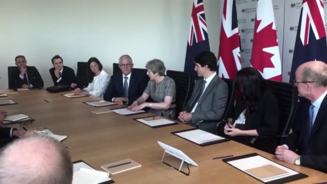 "prime minister theresa may held an ""intelligence partners"" summit with the leaders of canada australia and new zealand who make up the ""five eyes""... - politician stock videos & royalty-free footage"