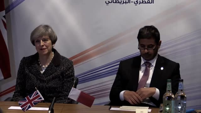 Prime Minister Theresa May holds a meeting with her Quatari counterpart Sheik Abdullah Bin Nasser Bin Khalifa Al Thani and senior figures at the...