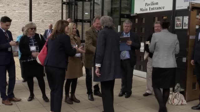Prime Minister Theresa May leaves the Welsh Conservatives Conference in Llangollen North Wales where she was heckled by a party member