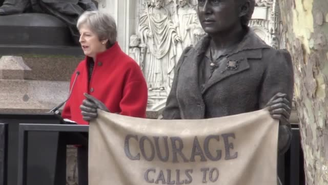 Prime Minister Theresa May makes a speech at the unveiling of the Millicent Fawcett statue in Parliament Square followed by a reading from actor...