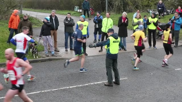 prime minister theresa may marshals the maidenhead easter ten run - public celebratory event stock videos & royalty-free footage