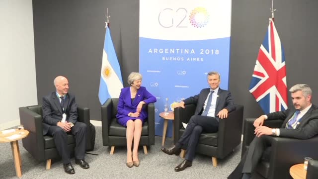 prime minister theresa may meets argentine president mauricio macri on a landmark visit to argentina for the g20 summit where her hosts are using... - mauricio macri stock videos and b-roll footage