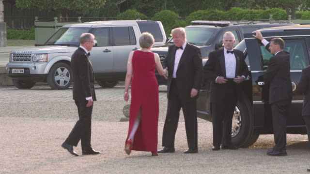 prime minister theresa may of the united kingdom hosts president donald trump of the united states of america at blenheim palace on july 12 2018 in... - donald trump us president stock videos and b-roll footage