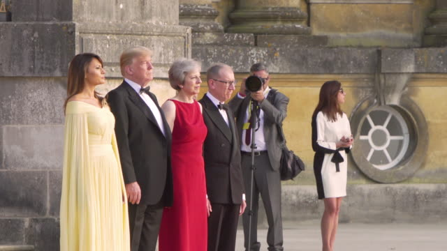 Prime Minister Theresa May of the United Kingdom hosts President Donald Trump of the United States of America at Blenheim Palace on July 12 2018 in...