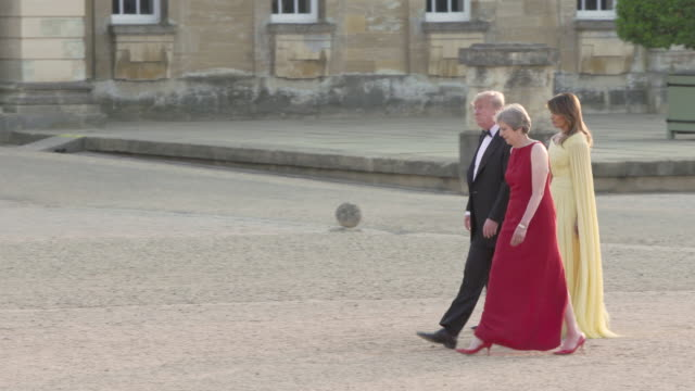 4k prime minister theresa may of the united kingdom hosts president donald trump of the united states of america at blenheim palace on july 12 2018... - donald trump us president stock videos and b-roll footage
