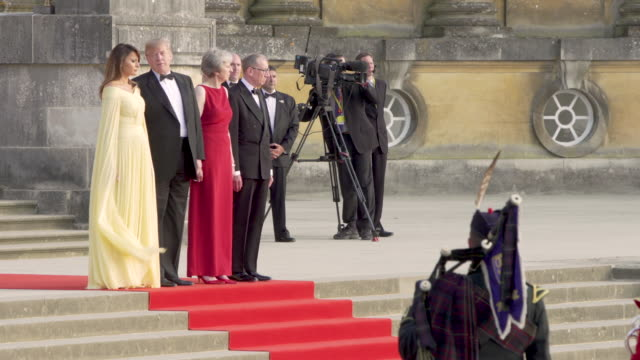 4K Prime Minister Theresa May of the United Kingdom hosts President Donald Trump of the United States of America at Blenheim Palace on July 12 2018...