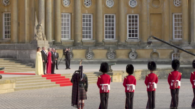 prime minister theresa may of the united kingdom hosts president donald trump of the united states of america at blenheim palace on july 12, 2018 in... - oxfordshire stock videos & royalty-free footage