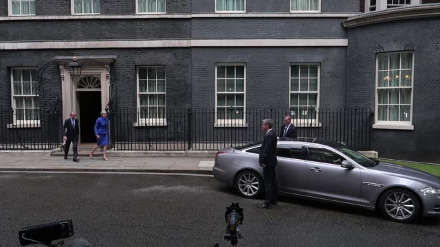 Prime Minister Theresa May on 10 Downing Street with husband Philip on June 9 2017 in London England After a snap election was called by Prime...
