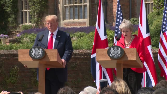 prime minister theresa may president donald trump take to the stage and mrs may gives her opening speech on july 13 2018 in aylesbury england - donald trump us president stock videos and b-roll footage
