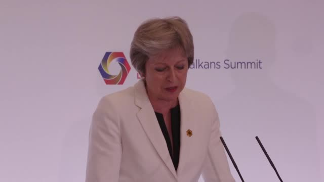 prime minister theresa may responds to questions about her leadership and donald trump's claims that the uk government is currently in 'turmoil'... - angela merkel stock videos & royalty-free footage