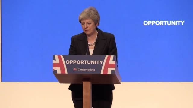 prime minister theresa may speaks about on immigration a 2022 'festival of great britain' quips about her dancing and backs business and housing... - theresa may stock videos & royalty-free footage