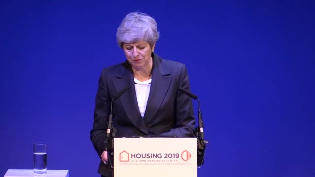 prime minister theresa may speaks at the chartered institute of housing conference at the exchange auditorium in manchester. she jokes about... - home ownership stock videos & royalty-free footage