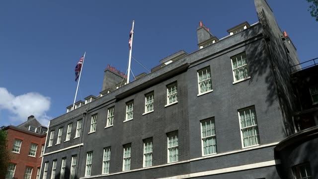 Prime Minister Theresa May statement cutaways ENGLAND London Downing Street EXT CUTAWAYs Press Number 10 Theresa May MP statement announcing calling...