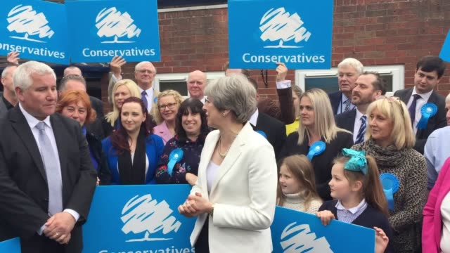 Prime Minister Theresa May visits activists in Dudley to congratulate them on gains made on both Dudley and Walsall councils in the West Midlands