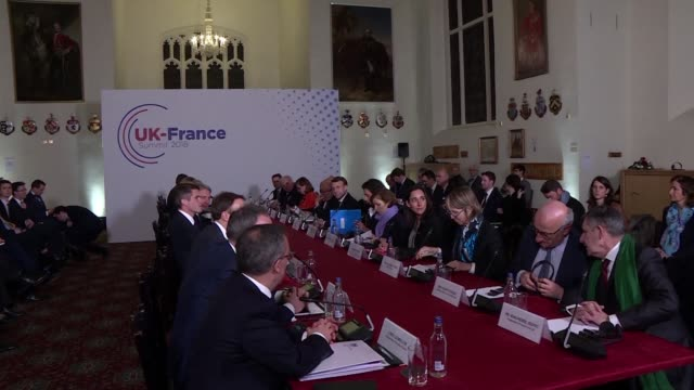 prime minister theresa may welcomed her french counterpart emmanuel macron on thursday for a high profile summit preceded by a british promise to pay... - prime minister stock-videos und b-roll-filmmaterial