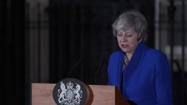 prime minister theresa may's statement outside downing street after winning a no confidence vote against her government - theresa may stock videos & royalty-free footage