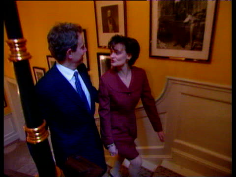prime minister tony blair and wife cherie walk up stairs inside 10 downing street 1997 general election 02 may 97 - british labour party stock videos & royalty-free footage