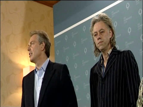 prime minister tony blair bono sir bob geldof and other members of make poverty history team attend press conference at g8 summit at gleneagles hotel... - g8 summit stock videos & royalty-free footage