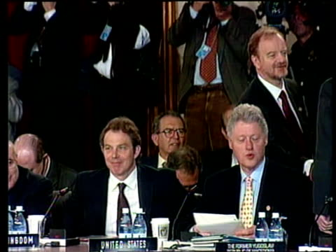 prime minister tony blair mp taking seat beside clinton as two converse - stain test stock videos & royalty-free footage