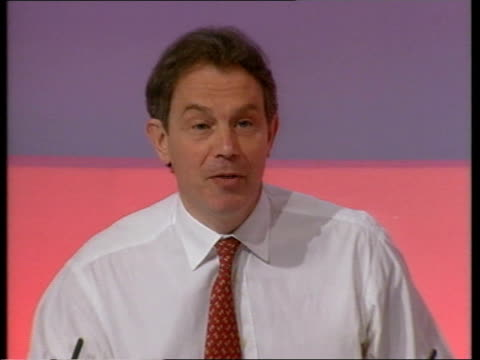 prime minister tony blair speech sot in the end that's choice country's got to make our choice is to carry on investment their choice is to cut it... - nutshell stock videos & royalty-free footage