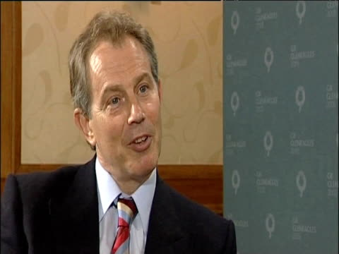 prime minister tony blair states that the terms of debate on africa can be changed at g8 summit gleneagles hotel scotland 06 jul 05 - g8 summit stock videos & royalty-free footage