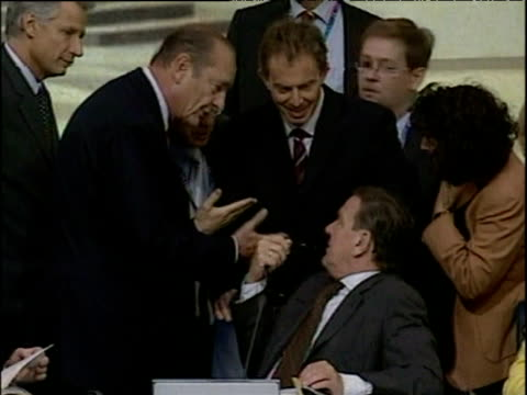 prime minister tony blair talking and laughing with president jacques chirac and chancellor gerhard schroeder rome 04 oct 03 - global communications stock videos & royalty-free footage