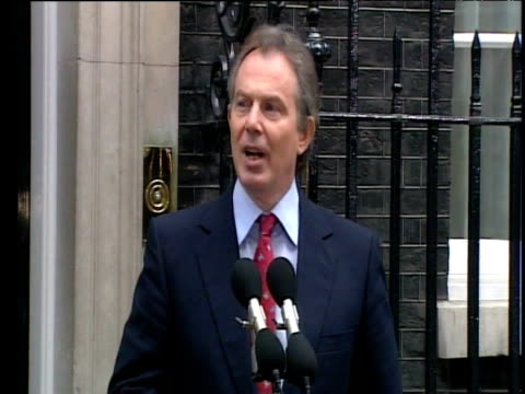 prime minister tony blair talks about focusing on issue of disrespect following his third general election win outside number 10 downing street... - disrespect stock videos & royalty-free footage