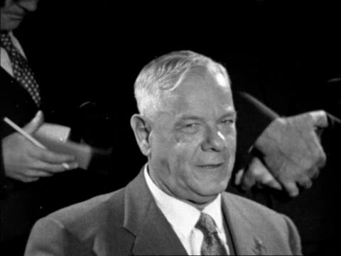 POLITICS/ CONFLICT Prime Minister Verwoerd arrives in London for press conference on apartheid ENGLAND London LAP pkf CS Verwoerd to Bosanquet SOF...