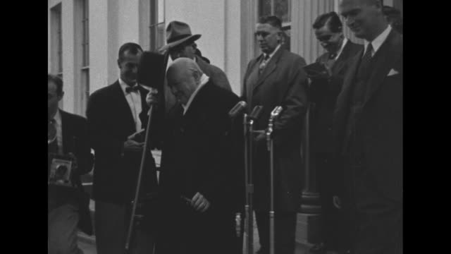 prime minister winston churchill extends his good wishes as he leaves the white house, after a meeting with president truman. - united states and (politics or government) stock videos & royalty-free footage