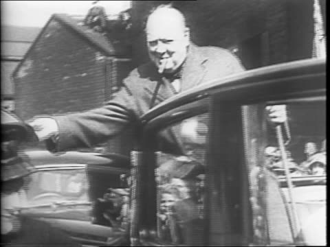prime minister winston churchill in uniform inspecting british pilots / churchill inspecting bomber plane / churchill with royal air force officers /... - winston churchill prime minister stock videos & royalty-free footage
