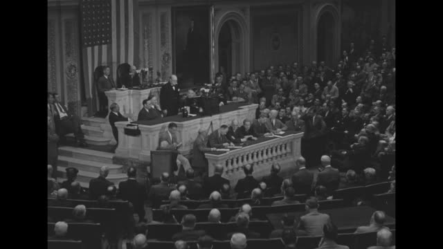 vs prime minister winston churchill speech to joint session of us congress vice president henry wallace speaker of the house sam rayburn behind him /... - sam rayburn stock videos and b-roll footage