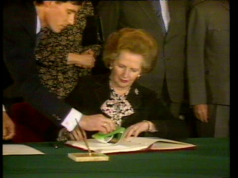 Prime Ministers Margaret Thatcher and Zhao Ziyang sign SinoBritish Declaration agreeing handover of Hong Kong to China Beijing 19 Dec 84