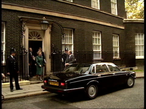 Economic debate ENGLAND London l0 Downing St PM Margaret Thatcher out of no 10 and into car